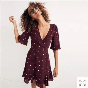 Madewell burgundy flutter dress